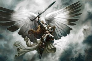 sword magic: the gathering wings angel closed eyes armor women fantasy art