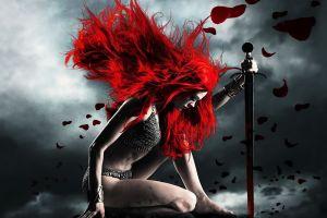 sword warrior redhead fantasy girl fantasy art