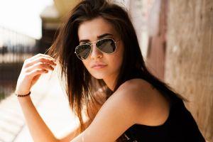 tank top black clothes women long hair model women outdoors tattoo sunlight wall brunette sunglasses women with glasses