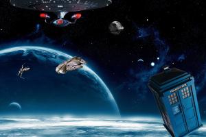tardis x-wing death star spaceship science fiction millennium falcon space art