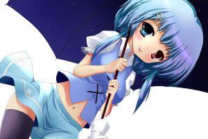 tatara kogasa heterochromia umbrella thigh-highs anime girls touhou