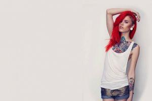 tattoo arms up denim women redhead model