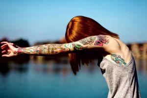 tattoo model tank top arms women outdoors women redhead