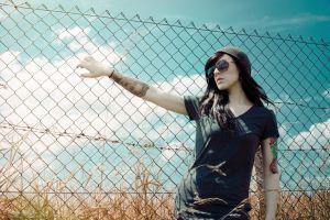 tattoo women outdoors women women with glasses fence model