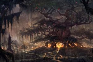 the elder scrolls online artwork video games trees fantasy art