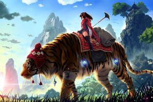 tiger creature anime girls fantasy art anime