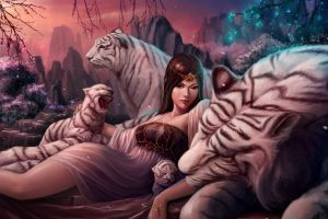 tiger fantasy art fantasy girl