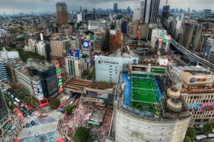 tokyo building soccer field rooftops japan