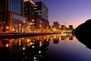 tokyo cityscape night water japan reflection river