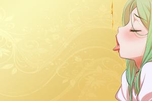 tongues closed eyes ecchi green hair anime girls anime