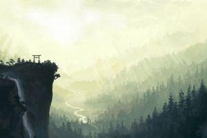 torii fantasy art artwork waterfall forest cliff landscape mountains