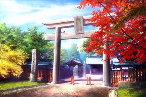 torii japan trees red leaves temple anime