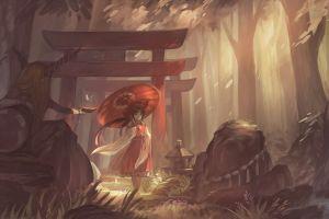 touhou anime girls anime hakurei reimu miko fantasy art torii