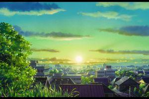 town karigurashi no arrietty anime sunlight studio ghibli cityscape sun