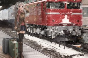 train anime girls anime train station