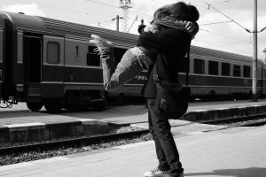train monochrome men vehicle women