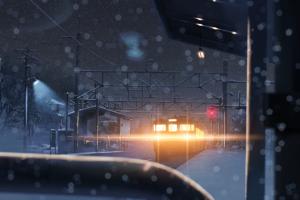 train snow night anime bokeh 5 centimeters per second winter lights
