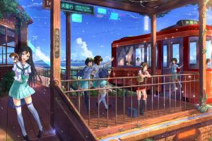 train station schoolgirl anime anime girls