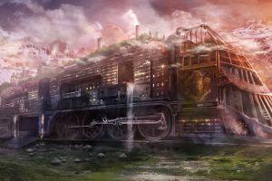 train steampunk vehicle fantasy art