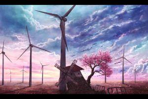 trees anime artwork