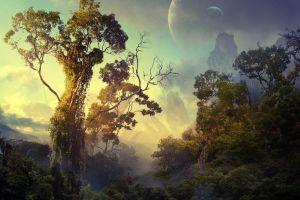 trees artwork fantasy art nature jungle digital art planet