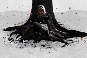 trees artwork women dark