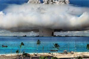 trees beach nuclear nature explosion hawaii water colorized photos bombs palm trees