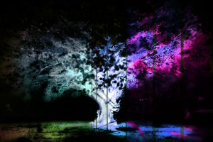 trees field psychedelic glitch art negative