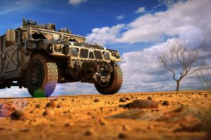 trees hummer vehicle military desert clouds