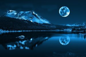 trees landscape blue winter nature mountains water forest pond lake digital art night moon cold moonlight