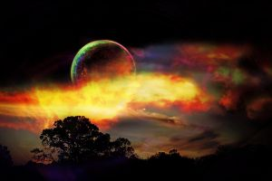 trees landscape planet digital art colorful space art space artwork aurorae