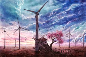 trees landscape sky windmill artwork clouds