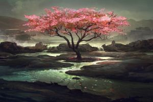 trees nature fantasy art artwork landscape