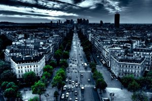trees paris street building car road traffic night france city urban