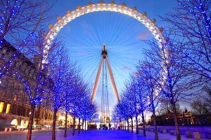 trees path ferris wheel blue london christmas lights london eye