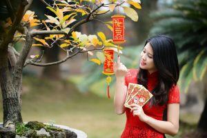 trees red dress looking away women outdoors asian standing black hair women