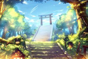 trees sky nature anime asia fantasy art