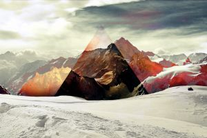 triangle snow polyscape nature digital art landscape mountains abstract