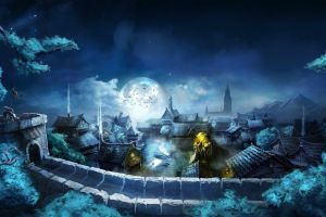 trine video games chinese architecture moon fantasy art