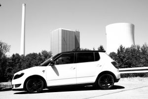 tuning nuclear power plant street monochrome power plant skoda road photography car
