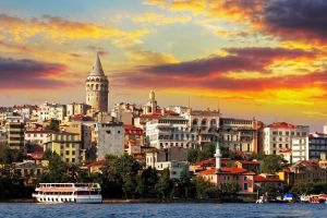 turkey galata kulesi clouds cityscape building sunset ship architecture tower water istanbul galata trees old building