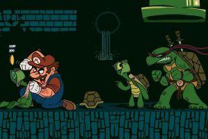 turtle coins video games super mario crossover sword fighting glasses teenage mutant ninja turtles
