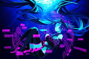 twintails anime thigh-highs closed eyes anime girls hatsune miku vocaloid