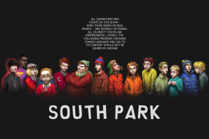 typography south park simple background black background