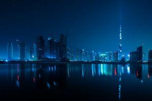 united arab emirates night burj khalifa cityscape burj al arab dubai water reflection blue arabic