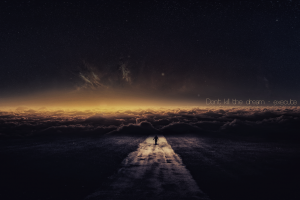 universe road fantasy art galaxy sky inspirational digital art typography quote stars clouds