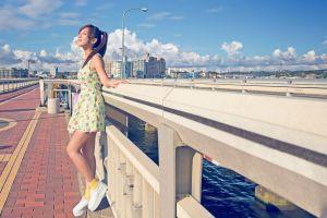 urban flower dress dress asian model women legs warming in sunlight