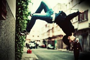 urban men parkour backflip