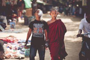 urban people monks children smoking