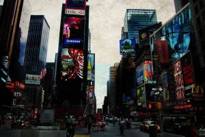 urban times square photo manipulation new york city skyscraper